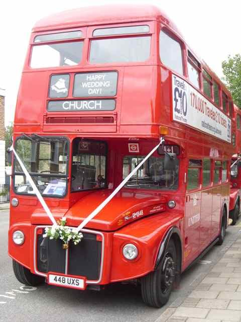 The Routemaster outside a north London Church, as part of a 2 bus Wedding hire.