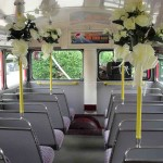 Routemaster lower deck - dressed for the Wedding!