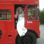 Hats off to Laura! The first Bride to climb into the Routemaster's cab!